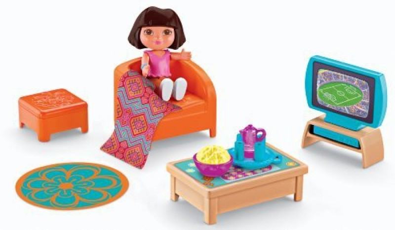 Dora the Explorer Dora The Explorer Playtime Together Dora and Me Dollhouse Basic Living Room(Multicolor)