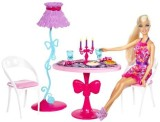 Barbie Glam Dining Room Furniture and Doll Set (Multicolor)