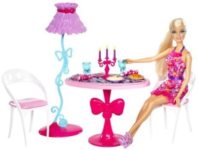 Barbie Glam Dining Room Furniture and Doll Set(Multicolor)