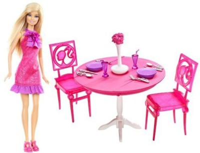 Barbie Mattel Doll and Dining Room Gift Set(Multicolor)