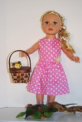 A Dolls Closet Polka Dots Dress Fits 18 Inches American Girl(Pink)