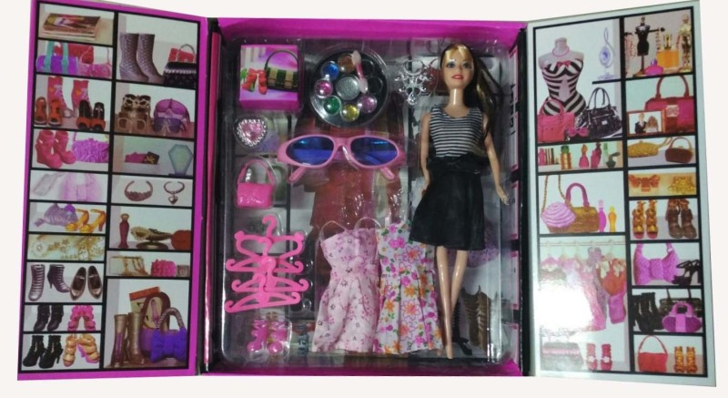Shop & Shoppee Beautiful Doll with Dress, Makeup kit & various accessories(Multicolor)