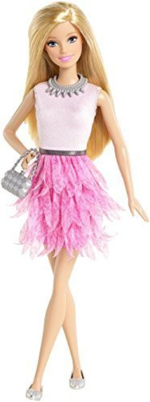 Barbie Fashionistas Pink Ruffled Dress(Pink)