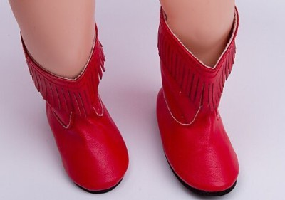A Dolls Closet Shoes Red Fashion Tassels Boots Fit 18 Inch American Girl