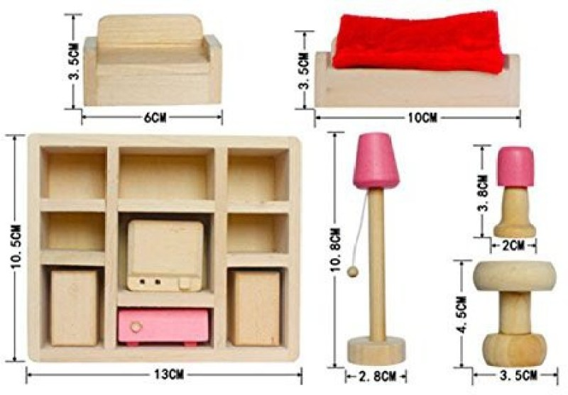 Dreams-Mall Wooden Doll House Furniture Set Toy for Baby Kids -Lounge Room(Multicolor)