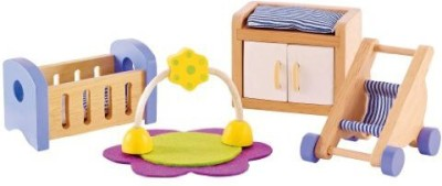 Hape Baby's Room Wooden Doll House Furniture(Multicolor)