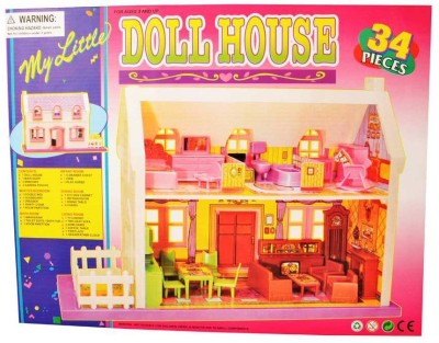 Scrazy Multicolour Complete Plastic Doll House Play Set