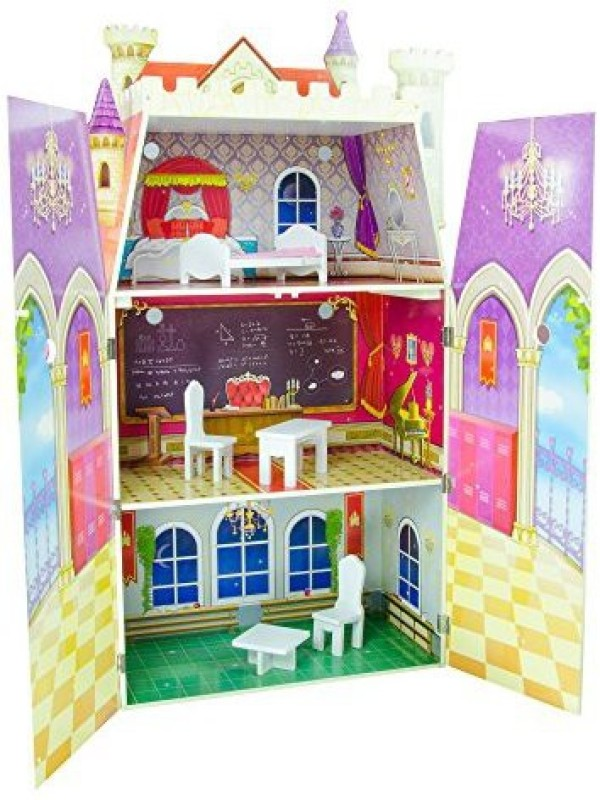 Teamson Design Corp Kids - Fancy Castle Wooden Doll House with 5 pcs Furniture for 12 inch Dolls(Multicolor)