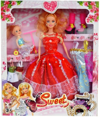 ES-KO Sweet Fashion Doll with Baby Doll, Colorful Dresses, Bicycle and Long Boots
