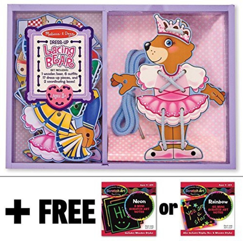 Melissa & Doug Bears - Magnetic Dress Up Wooden Doll & Stand + FREE Melissa & Doug Scratch Art Mini-Pad Bundle(Multicolor)