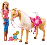 Barbie Feed And Cuddle Tawny Horse And D...