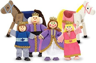 Melissa & Doug Royal Family Wooden Doll Set(Multicolor)