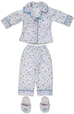 Carpatina Dolls Christmas Snow Pajamas & Slippers(Multicolor)