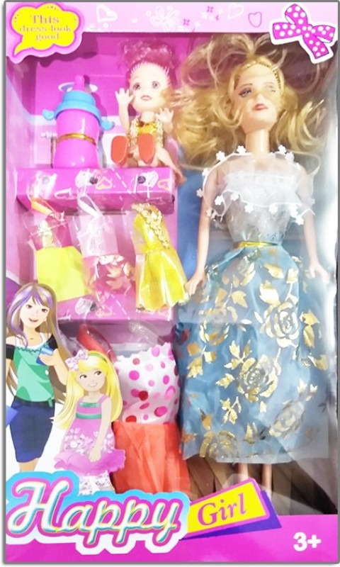 DinngDonng Doll Set Happy Girl(Multicolor)