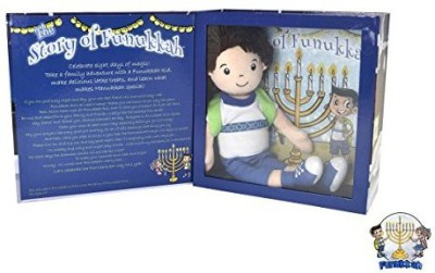 Funukkah Dolls Hanukkah Boy Doll and Illustrated Book(Blue)