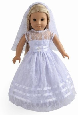 sweet dolly 2Pc Clothes White Communion Dress Wedding Dress Fits 18(White)