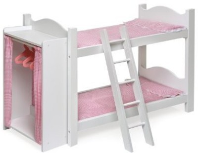 Badger Basket Doll Bunk Beds with Ladder and Storage Armoire (fits American Girl dolls)(Multicolor)