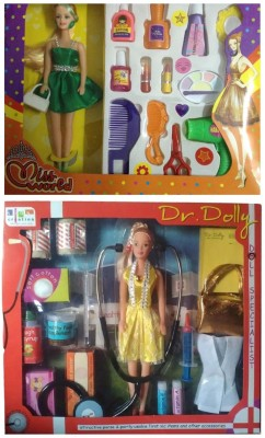 New Pinch combo of Miss World Doll With Make-up Set & Dr.Dolly Doll First Aid Kit