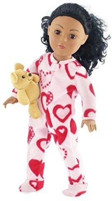 Emily Rose Doll Clothes 18 Inch Pink Footed Heart Pajamas With Teddy Bear Clothes