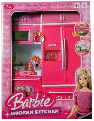 others Pink Modern Barbie Battery Operated Kitchen Set