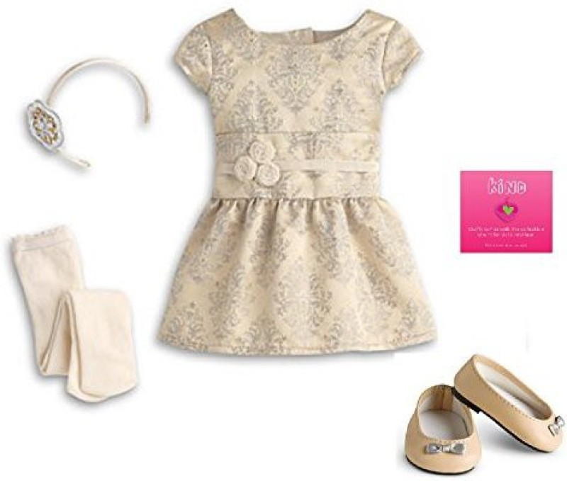 American Girl Brocade Holiday Dress For My Ag 2013 ( Not Included)(Beige)