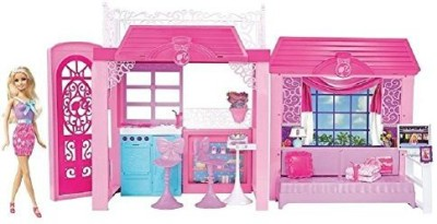 Barbie Pink Tastic Glam Vacation House & Doll Exclusive Set(Pink)