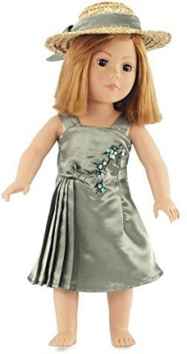 Emily Rose Doll Clothes Fits American Girl Satin Dress & Hat 18