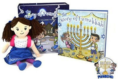 Funukkah Dolls Hanukkah Girl Doll and Illustrated Book(Blue)