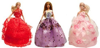 UNI Gifts Shop Barbie Princess Gown, Evening Dress, Wedding Gown (Barbie Gown 3 Dress Set) - Dolls NOT Included(Multicolor)