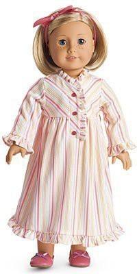 American Girl Kit,S Striped Nightie Forpajamas Pj,S(Pink)