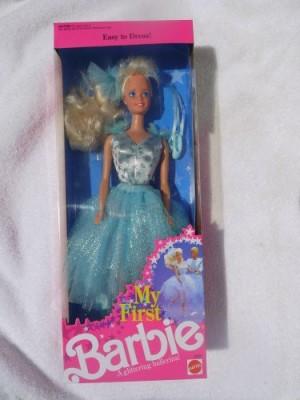 Franklin Mint My First Barbie In Pale Blue Easytodress Glittering