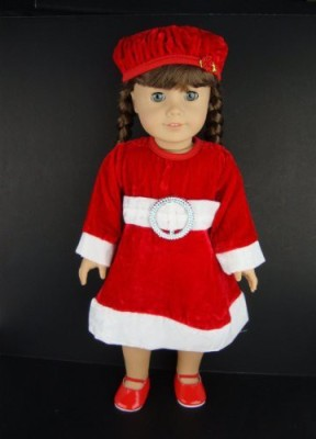 Olivia's Doll Closet A Traditional Christmas Dress In Red Velvet And White Trim