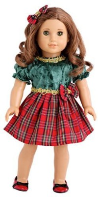 Dream World Collections Christmas Classic - Green and Red Party Dress with Red Shoes - 18 Inch American Girl Doll Clothes