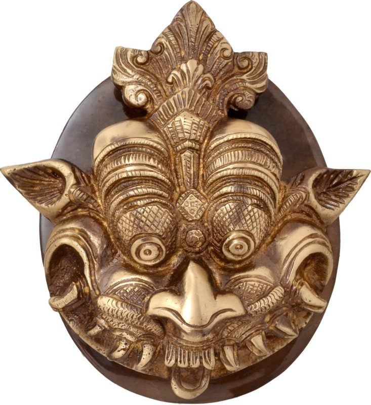 Handecor Dragon Face Plate Base Brass Door Knocker(Antique Brass)