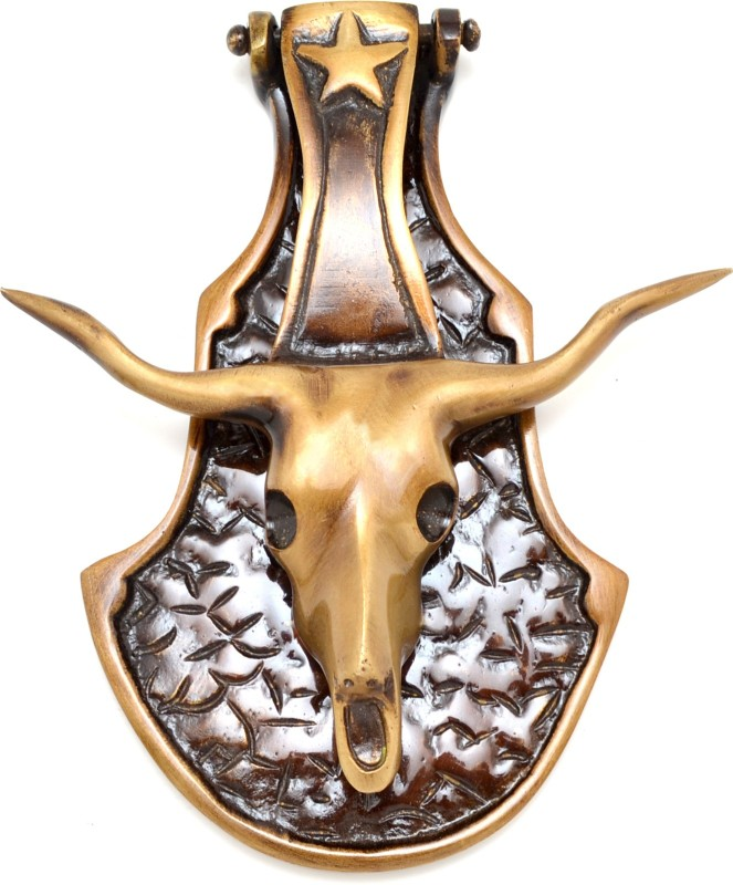 Handecor Bull Head Brass Door Knocker(Antique Brass)