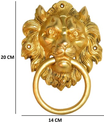 Aakrati Lion face door pull in yellow look Brass Door Knocker(Brass)