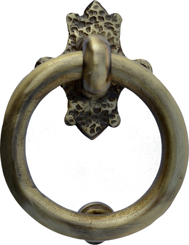 Aakrati Ring Shaped Simple But in Golden Look Brass Door Knocker(Antique Brass)