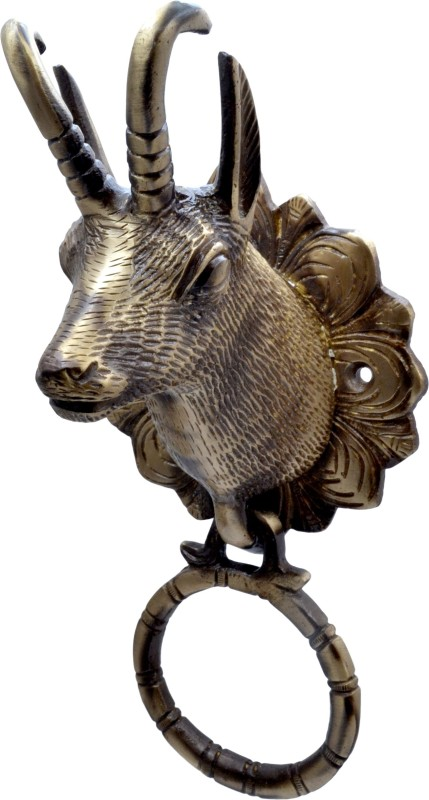 Handecor Deer Head Brass Door Knocker(Antique Brass)