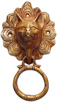 Aakrati Metal Cat Face Brass Door Knocker