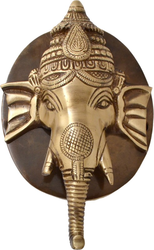 Handecor Ganesh Face Plate Base Brass Door Knocker(Antique Brass)