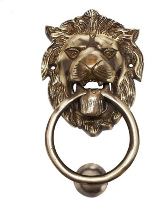 Craftcart 100 MM Lion Brass Door Knocker(Brass)