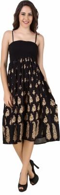 Stylishbae Women's Fit and Flare Black, Gold Dress
