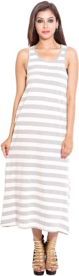 Sciocco Women's Maxi White, Grey Dress