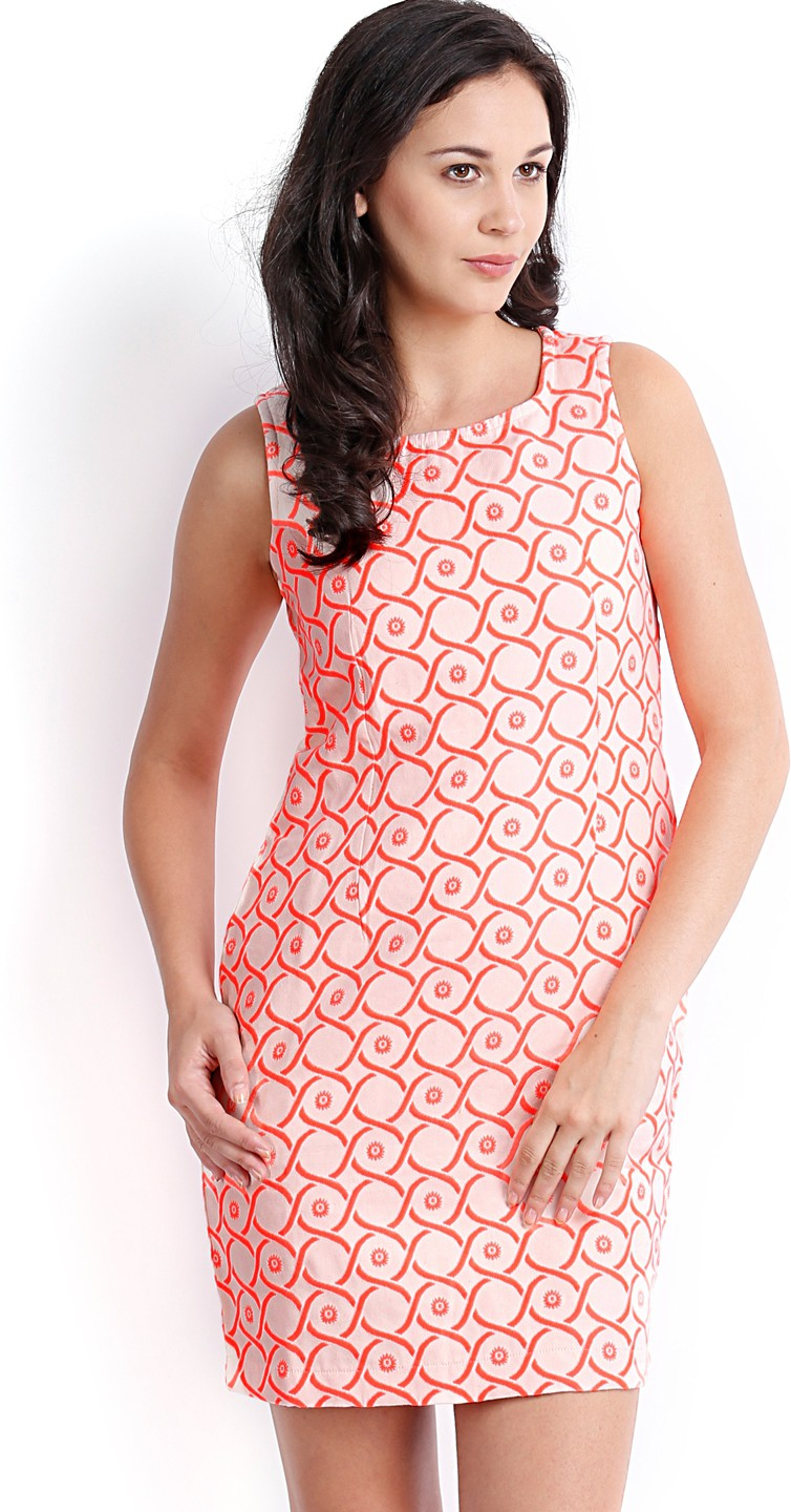 Ten on Ten Womens Sheath Orange Dress