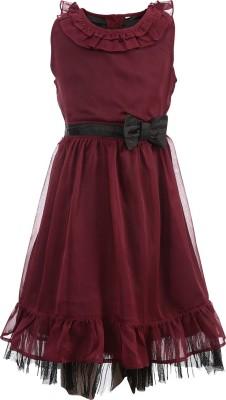 ShopperTree Girl's Peplum Maroon Dress