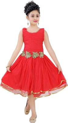 Saarah Girl,s Gathered Red Dress