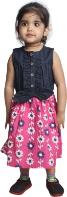 Nino Bambino Girl's Gathered Dark Blue Dress