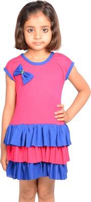 Thar Girl's Fit and Flare Pink Dress