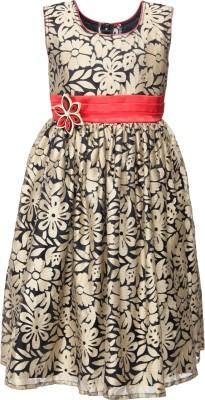 She Designs Girl's A-line Black, Red Dress