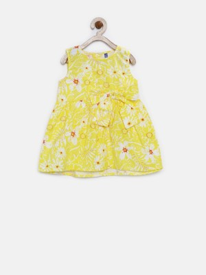 Yk Girl's Fit and Flare Yellow Dress